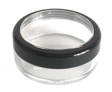 100 x 20ml THICK WALL Empty Small Plastic JAR Black Rim Makeup/Craft/Travel Pot