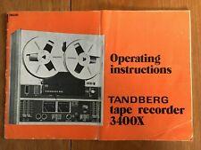 TANDBERG TAPE RECORDER 3400X OPERATING INSTRUCTION BOOKLET c1975