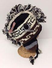 Men Women Winter Warm Wool Peruvian Style Mohawk Beanie Trooper Ski Hat Brown