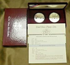 1983-1984 Olympic Proof Silver Dollar Commemorative 2 Coin Set Box COA