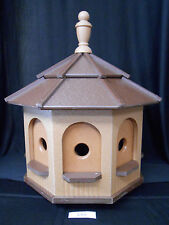 Large Poly Handcrafted Handmade Homemade Birdhouse Garden Cedar & Brown Roof