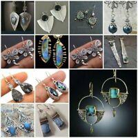 Boho Vintage Turquoise Sapphire 925 Silver Ear Hook Stud Dangle Drop Earrings