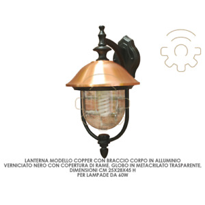 Copper lantern with aluminum and copper arm 25x28x45 cm outdoor wall light