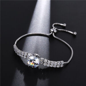 New European Hot Sale White Fire Topaz Crystal Silver Silde Adjustable Bracelet