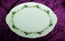 Syracuse China Westvale Pattern 14x10  Oval Serving Platter Pink Green Leaves