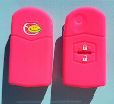 HOT PINK MAZDA 3 , 2 , 6 FLURO 2 Button CAR FLIP KEY COVER CASE MPS SP23 CX7 CX9