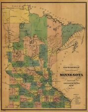 Township and railroad map of Minnesota c1874 24x30