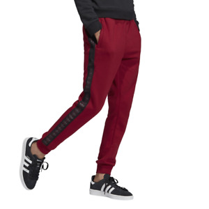 Adidas Slim Fit Tape Pants Burgundy Joggers for Kids Boys Sport Casual Brand New