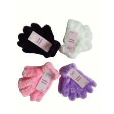 LADIES WOMENS GIRLS FLUFFY FEATHER WINTER GLOVES SUPER SOFT FEEL RED WHITE PINK