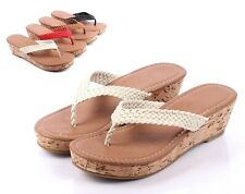 Beige Casual Youth Wedge Cork Heels Girls Sandals Kids Slippers Shoes Size 10