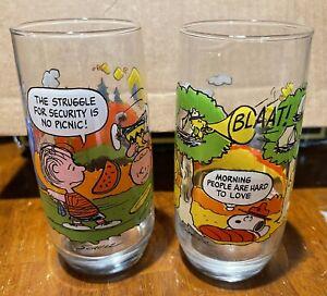 Charlie Brown Camp Snoopy McDonalds Glasses Set of 2 Vintage  Peanuts