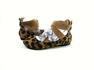 Bella Marie Girls DANA-20KB Leopard Suede Strap Ballet Flats,Toddler Size 10,New