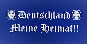 DEUTSCHLAND MEINE HEIMAT 21cm Autoaufkleber IN WEIß Auto Sticker Tuning