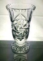 "VINTAGE HEAVY BOHEMIA CRYSTAL PINWHEEL CUT GLASS VASE - 6"" TALL"