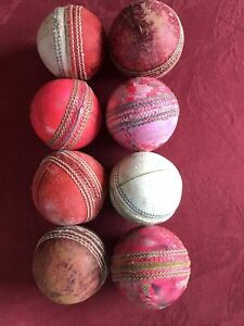 8 USED ASSORTED COLOUR ADULT CRICKET BALLS  No 12
