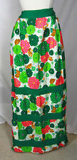Vintage Hawaiian Skirt maxi long S floral tropical neon grosgrain ribbon