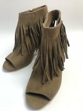 Carlos by Carlos Santana Women's Jasper Peep Toe Fringed Ankle Boot SZ 9M TAN