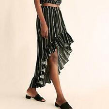 Express Ruffle High Low Maxi Skirt Size L Black White Striped