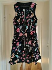 Portman's Size 12 Zipped Front Dress with Pockets - Black With Floral Print