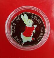 Beatrix potter 50p Christmas Peter Rabbit coloured UNCIRCULATED coin 2017