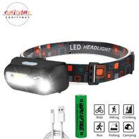 COB XPE LED Headlamp USB Rechargeable Headlight 6 Modes Torch Flashlight 18650