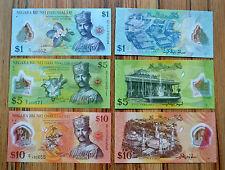 Brunei 1, 5 ,10  Ringgit / Dollar ,  P-35, 36, 37 UNC SET  3PCS Polymer NOTE