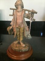 """Beautiful Figurine of a """"Young Boy Miner"""" Artist signed & Stamped Italy, MB207"""
