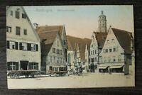 Bayern AK Nördlingen 1918 Schwaben Schrannenplatz Geschäfte Fuhrwerke Häuser (1