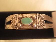 OLD HANDMADE SILVER & TURQUOISE NAVAJO CUFF BRACELET STAMPED & APPLIED DESIGNS