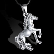 Fashion Leather Cool Silver Horse Unisex Charm Pendant Necklace Jewelry Gift Hot