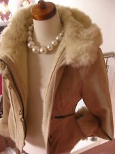 Ladies NEXT cream suede leather JACKET COAT hoody UK 10 12 faux fur sheepskin