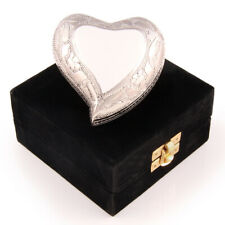 Cremation Urn Keepsake White Heart with velvet box and stand