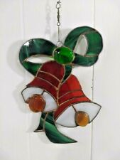 Vintage Handmade Stained Glass Christmas Bells Window Holiday Decor
