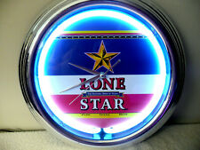LONE STAR NATIONAL BEER OF TEXAS NEON WALL CLOCK MAN CAVE