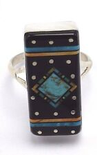 Zuni Handmade Inlay Night Sky Ring Set In Sterling Silver  Mark Jack Size 8.25