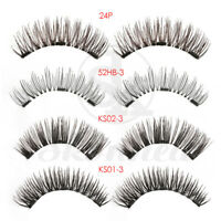 4PCS SKONHED Magnetic False Eyelashes Handmade Lashes 3D Triple Soft Lashes ~