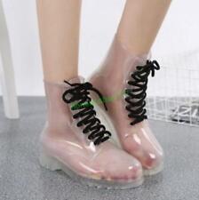 Women Transparent Flat Rubber Clear Rain Boots Lace Low Ankle Rainshoes Cute SZ
