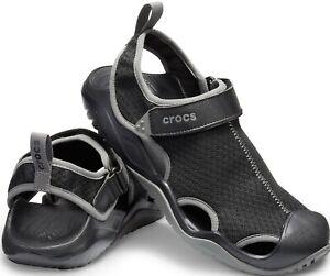 Men's CROCS Swiftwater Mesh Deck Water sandal shoes Black Brown