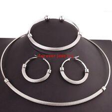 Jewelry Set Stainless Steel Silver Choker Collar Women Necklace&Bracelet&Earring