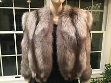 Genuine Harrods SILVER FOX Real FUR STOLE Capelet Jacket Shrug Cape Shawl Bridal
