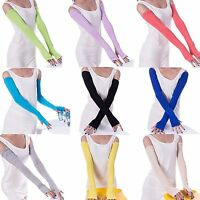 Cool Cotton Mittens Cosy Multifunctional Sunscreen Fingerless Long Arm Gloves