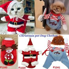 Pet Dog Cat Santa Claus Costume Fun Christmas Outfit Clothes Hoodie Cosplay Xmas