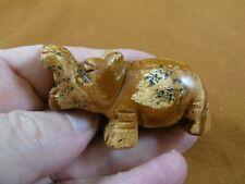 (Y-Hip-723) tan Jasper roaring Hippo Gemstone carving figurine gem Hippopotamus