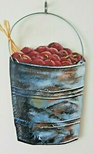 Genuine Slate Handmade Wall Sign Stone and Painted PAIL OF APPLES-PSALM 17:8