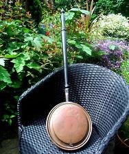 GEORGIAN COPPER WARMING PAN-WRIGGLE ROSE DECORATION-TURNED HANDLE c1800  *