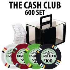 Cash Club Casino Poker Chip Set  600 Poker Chips Acrylic Carrier Racks