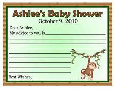 20 MONKEY JUNGLE BABY SHOWER ADVICE CARDS