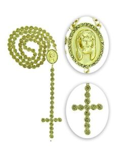 """Men's New Gold Finish Flower Canary Diamond Simulate Rosary Chain 30+7"""""""