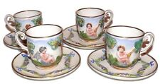 Capodimonte Italy Cherubs Teacups Cups Saucers Antique Set of 4