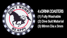 4  x HORSE APPALOOSA DRINK COASTERS - FULLY WASHABLE, DIVE SUIT MATERIAL